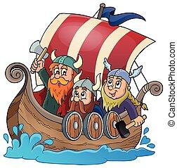 Viking ship theme image 1 - eps10 vector illustration.