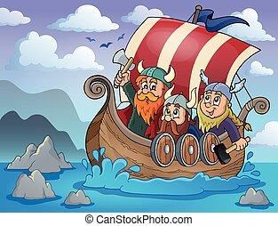 Viking ship theme image 2 - eps10 vector illustration.