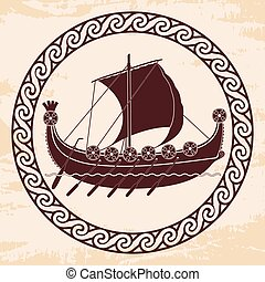 Viking ship with oars and shields. - Viking ship with oars...