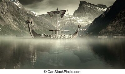 Epic hyper-realistic fantasy shot of 3 viking longboats on Eikesdalsvatnet fjord in Norway. The viking longboats as well as part of the water and the fog-plates are CGI. The grading is very cine-like. Watch out for other gradings of this shot.