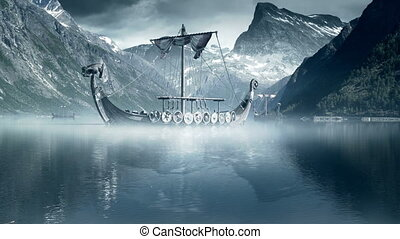 Viking Ships on Nordic sea - Epic hyper-realistic fantasy...