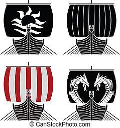 viking ships. vector illustration