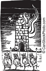 Line of vikings in front of a burning castle tower.