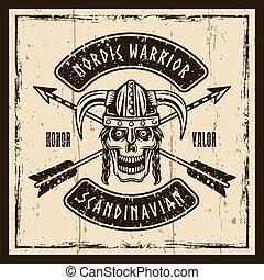 Viking skull in horned helmet vector brown emblem