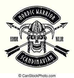 Viking skull in horned helmet vector emblem