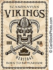Viking skull in horned helmet vector retro poster
