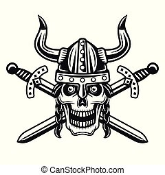 Viking skull in horned helmet with crossed swords
