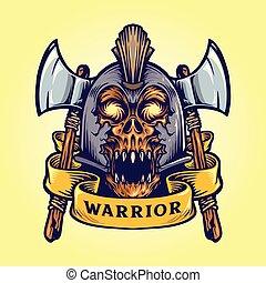 Viking skull warrior with banner