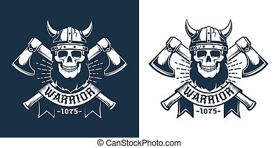 Viking skull with beard in horned helmet