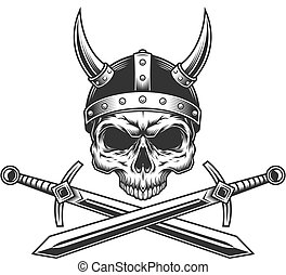 Viking skull without jaw in helmet
