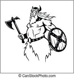 viking, slag, het bereiden, bijl