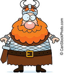 A happy cartoon viking standing and smiling.