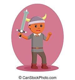viking, soldado, wield, espada, africano