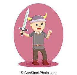 viking, soldado, wield, espada