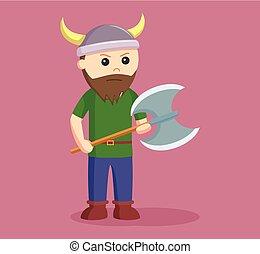 viking, soldado, wield, hacha