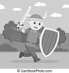viking, soldado, wield, protector, espada