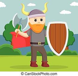 viking, soldado, wield, protector, grasa