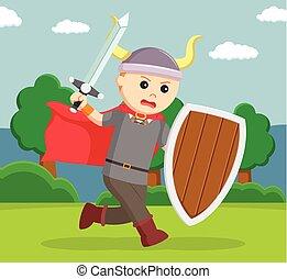 viking, soldado, wield, protector