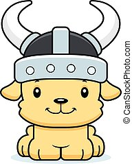 viking, sonriente, perrito, caricatura