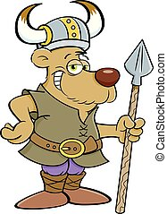 viking, spear., påklædt, bjørn, holde, cartoon