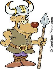 viking, spear., vestito, orso, presa a terra, cartone animato