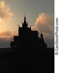 Viking Stave Church at Sunset