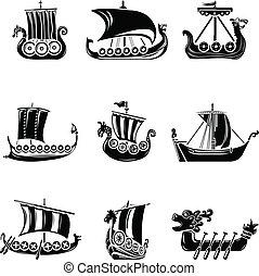 viking, stil, ikonen, sätta, enkel, skepp, båt, drakkar