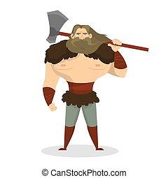 viking, strijder, boos, weapon., standing., bijl, sterke man