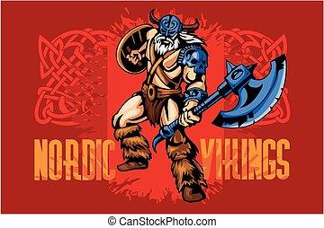 viking, strijder, groot, bijl