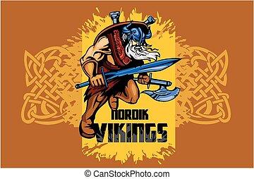 viking, strijder, zwaard, groot