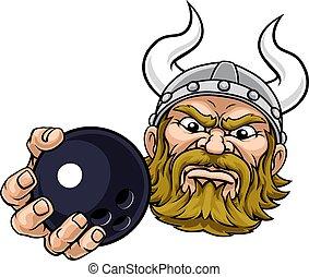 Viking Ten Pin Bowling Ball Sports Mascot Cartoon