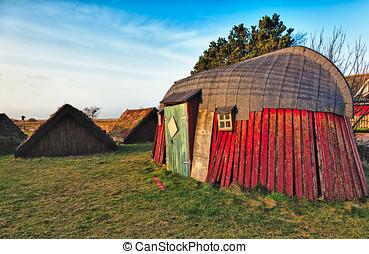 viking, tradicional, viejo, casa, edad, choza, bork, aldea