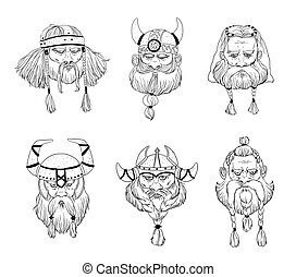 Viking, varangian, warriors head set. Hand drawn black and white portraits collection.