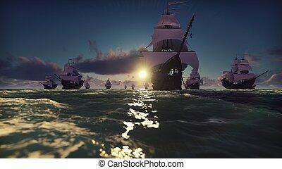 viking, voile, vikings, ship., bois, bas, rendre, river., bateau rivière, 3d