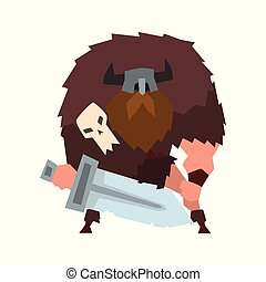 Viking warrior character with sword in helmet with horns vector Illustration on a white background