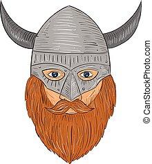 Viking Warrior Head Drawing