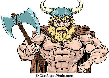 Viking Warrior Holding Axe - An illustration of a tough...