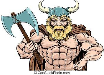 Viking Warrior Holding Axe - An illustration of a tough...