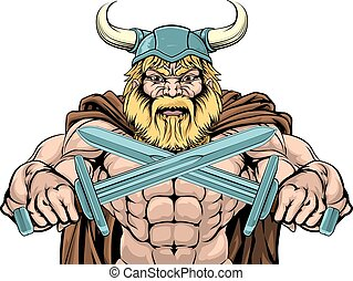 Viking Warrior Holding Swords