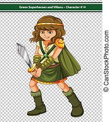 Viking Warrior - Illustration of a female viking warrior...