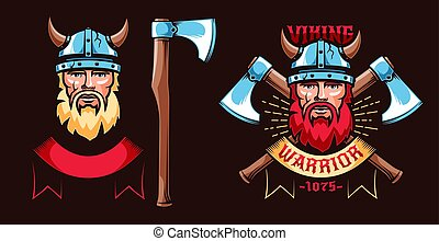 Viking warrior retro logo with bearded Scandinavian