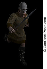 Viking Warrior Running - Viking Warrior with running with...