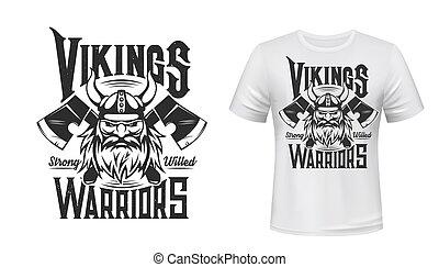 Viking warrior t-shirt print mockup, sport team and league ...