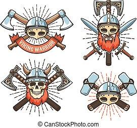 Viking warrior vintage logo. Medieval northern knight retro ...