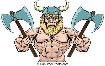 An illustration of a mean looking Viking Warrior with two axes