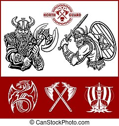Viking warrior with big axes