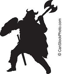 Viking. Warriors Theme - Fighting viking detailed vector...