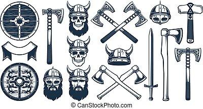 Viking weapon design elements for heraldic logo