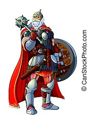 Viking with a club - Viking with club and shield on white...