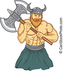 Viking with an ax preparing for battle